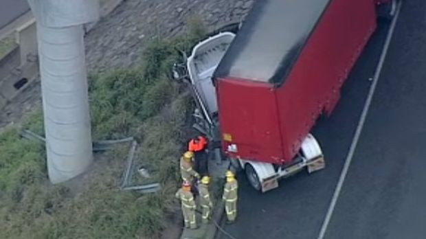 The semi-trailer involved in the Monash Freeway crash with an ambulance in May.