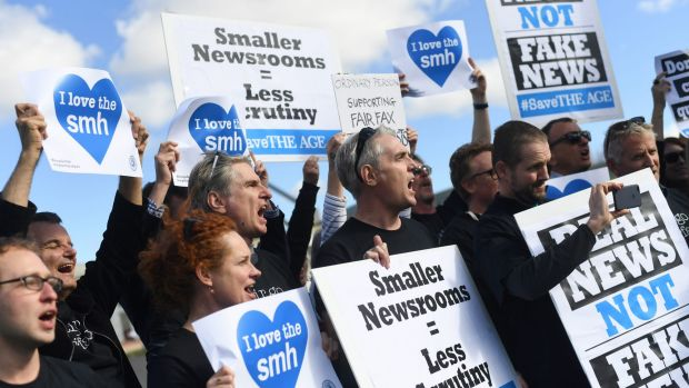 Striking Fairfax journalists outside Parliament House in Canberra earlier this week.