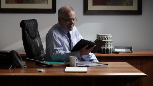 Treasurer Scott Morrison prepares the budget from his office in the Treasury building in Canberra on Tuesday 2 May 2017.