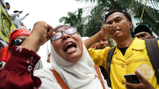 Anti-Ahok protesters were angry that he was only sentenced to two years' jail for blasphemy rather than the maximum five.