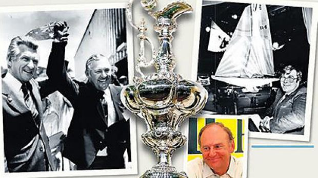 Bob Hawke and the victorious Alan Bond, above, the coveted cup, Ben Lexcen with a scale model, top right, and Peter van ...