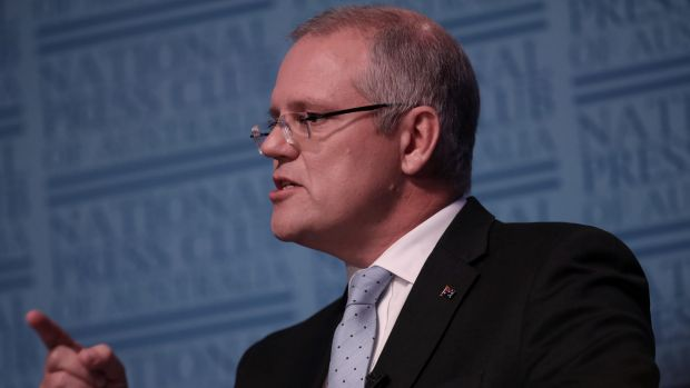 "Treasurer Scott Morrison, speaking at the National Press Club, said it was time for the banks to ""pony up"" and absorb ..."