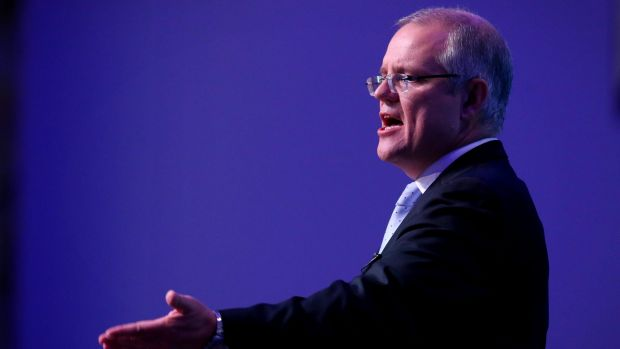 Treasurer Scott Morrison delivers his post-budget address in the Great Hall.