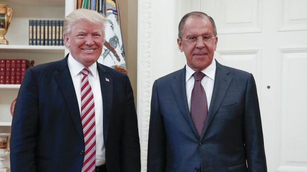 President Donald Trump meets with Russian Foreign Minister Sergey Lavrov, right, at the White House in Washington.