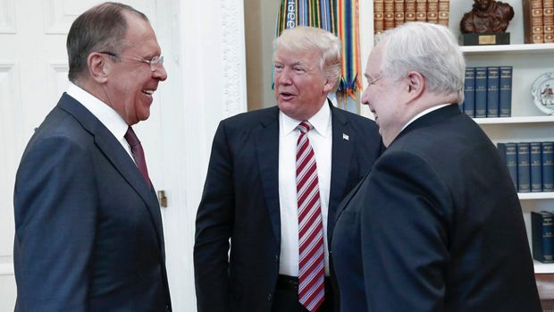 President Donald Trump meets with Russian Foreign Minister Sergey Lavrov, left, and Russian Ambassador to the US Sergey ...