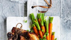 EMBARGOED FOR SUNDAY LIFE, APRIL 30/17 ISSUE. Adam Liaw recipe: Secret recipe roast chicken with buttered vegetables Cr: ...