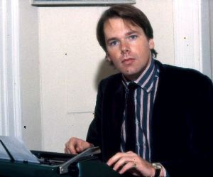 A young Mark Colvin at work.