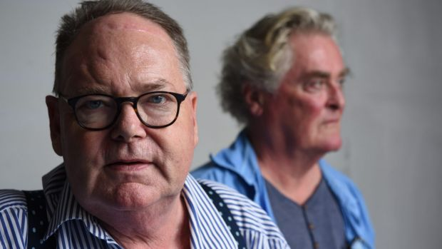 Mark Colvin, left, with actor John Howard who was playing him in the play <i>Mark Colvin's Kidney</i> at the Belvoir ...
