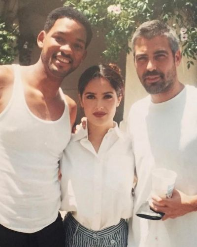 Salma Hayek shared this throwback to what we are guessing is the late '90s with Will Smith and George Clooney, to ...