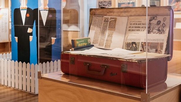 The exhibition includes the suitcase of Lambert McBride, which he used to distribute pamphlets as he campaigned for ...