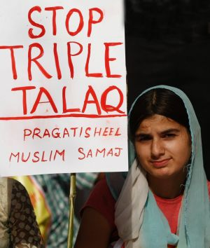 Activists of the Joint Movement Committee protest against triple talaq in New Delhi on Wednesday.