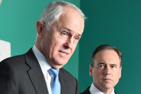 Prime Minister Malcolm Turnbull with Health Minister Greg Hunt on Friday.