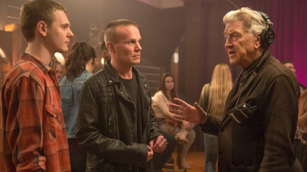 Jake Wardle (left), James Marshall and David Lynch behind the scenes of Twin Peaks.