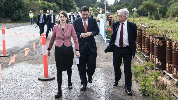 Premier Gladys Berejiklian (left), WestConnex Minister Stuart Ayres and Sydney Motorway Corporation chief executive ...
