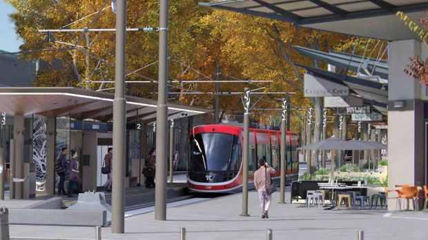 An artist's impression of a light rail stop at Gungahlin Place in Canberra's north.