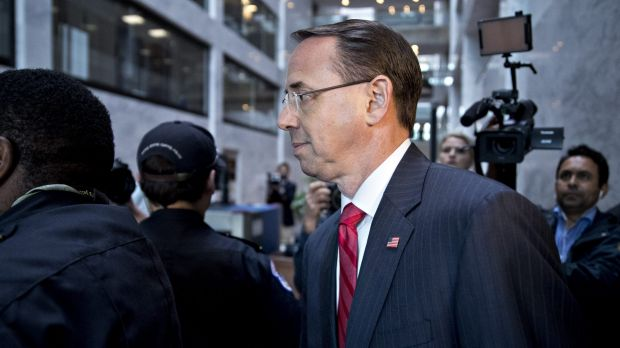 Deputy Attorney-General Rod Rosenstein is at the centre of the storm over James Comey's sacking.