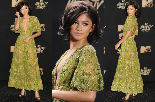 20-year-old Zendaya won the Met Gala and now she's slaying the MTV Movie Awards, looking both sultry (neckline, sheer) ...