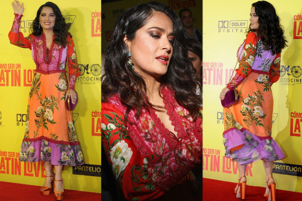 In terms of both joy and personal style appropriateness, this is the best Gucci look I've ever seen on Salma Hayek (and ...