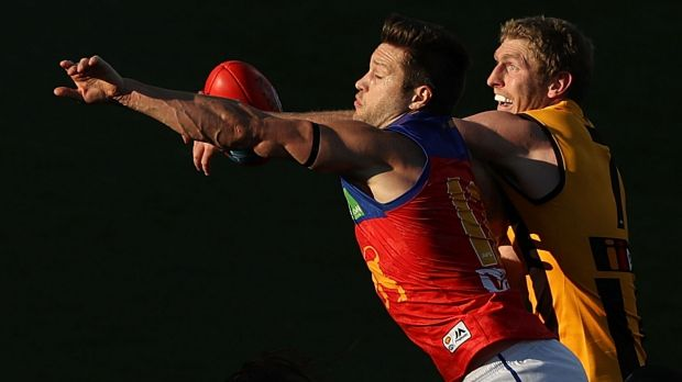 Stefan Martin of the Lions and Ben McEvoy of the Hawks compete for the ball.