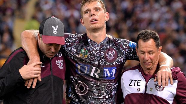 Concerning sight: Tom Trbojevic is taken from the field injured.