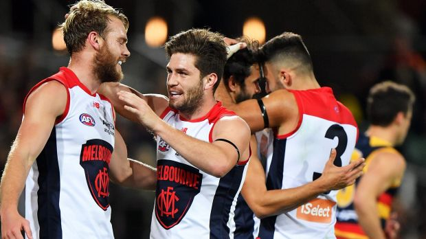 Demons Jack Watts and Jack Viney celebrate a goal.