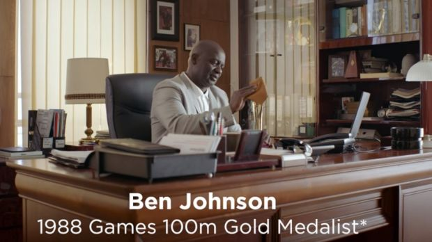 """Unfairly fast"": Sprinter Ben Johnson, who admitted to using performance enhancing drugs during his career, in an ad for ..."