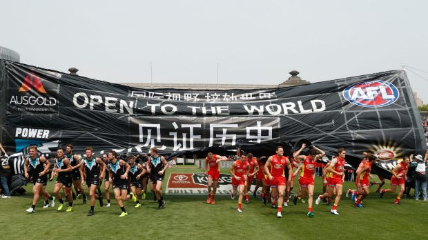The match between the Gold Coast Suns and Port Adelaide Power at Jiangwan Sports Stadium was the first to be played ...