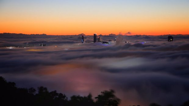 A thick fog covered Brisbane on Monday morning.