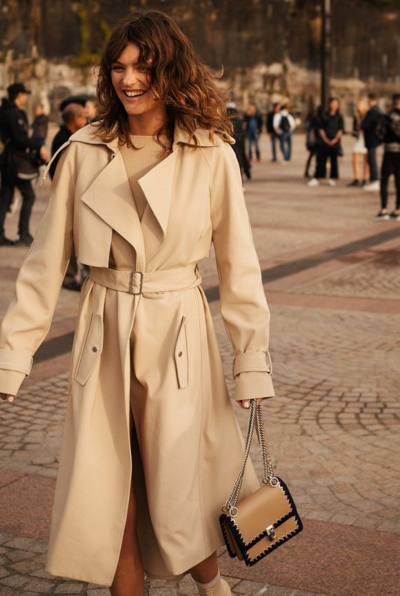 A classic trenchcoat at Fashion Week, day one.