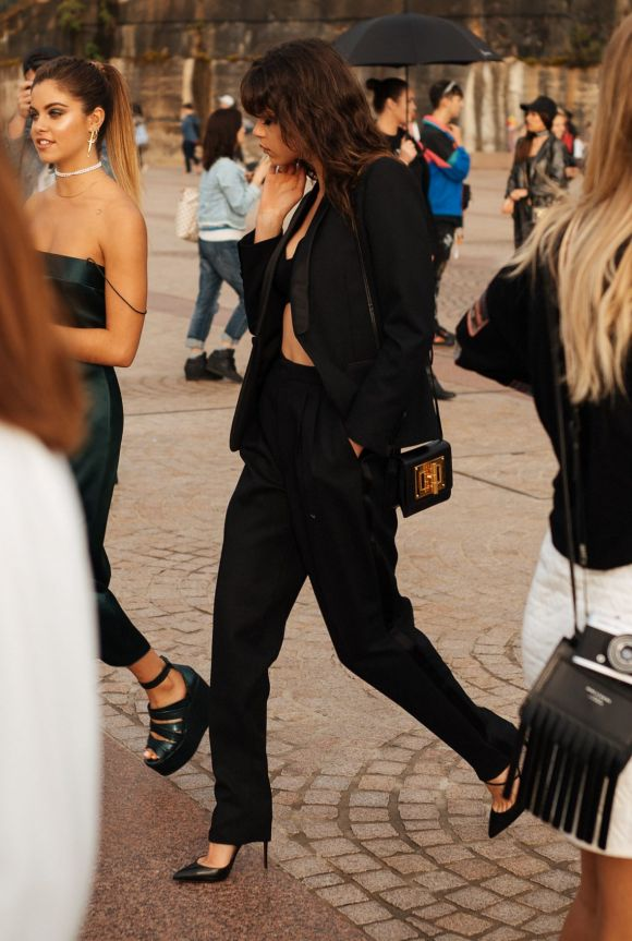 All black everything at Fashion Week, day one.