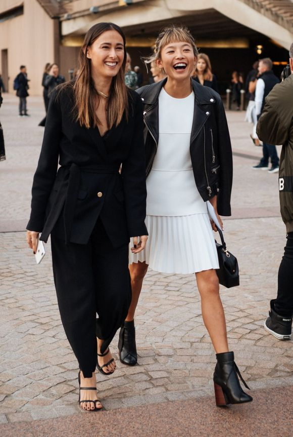 Classic monochrome at Fashion Week, day one.