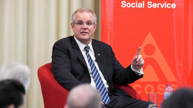 Scott Morrison, selling a budget whose projections stretch credulity.