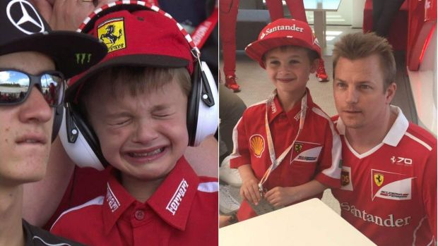 Thomas Danel was in tears after Kimi Raikkonen crashed out of the Spanish F1 Grand Prix, and then met his idol.