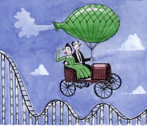 Like riding a flying machine above a rollercoaster, investing in ETFs is less volatile than individual shares, but ...