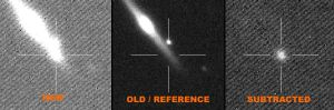 """If a bright object appears on the """"new"""" image which was not visible on the reference image you may have found a ..."""
