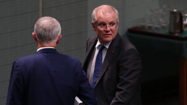 Prime Minister Malcolm Turnbull and Treasurer Scott Morrison at Parliament House.