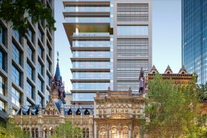 An artist's impression of the Olderfleet development on Collins Street in Melbourne by Mirvac.