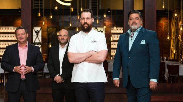 Sydney 'king of the cakes' Andy Bowdy (centre) stars on MasterChef.