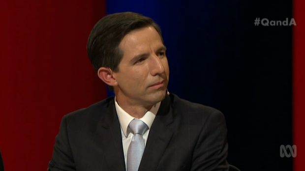 Education minister Simon Birmingham was interrupted by student protesters.
