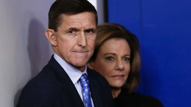 Michael Flynn while still in the White House in February.