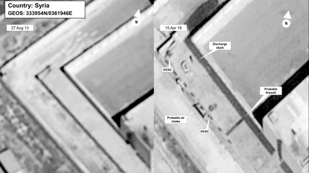 Satellite images taken on August 27, 2013, left, and April 16, 2015, of a building in a prison complex in Syria that was ...