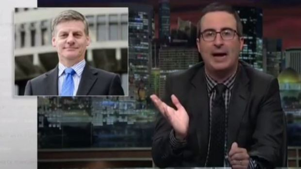 """John Oliver called the New Zealand PM """"the very poorest man's Daniel Craig""""."""