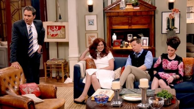 Eric McCormack (Will), Debra Messing (Grace), Sean Hayes (Jack) and Megan Mullally (Karen) on the set of the political ...