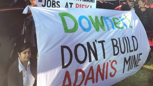 Tuesday's protest against the Adani mine at Downer's Sydney HQ.
