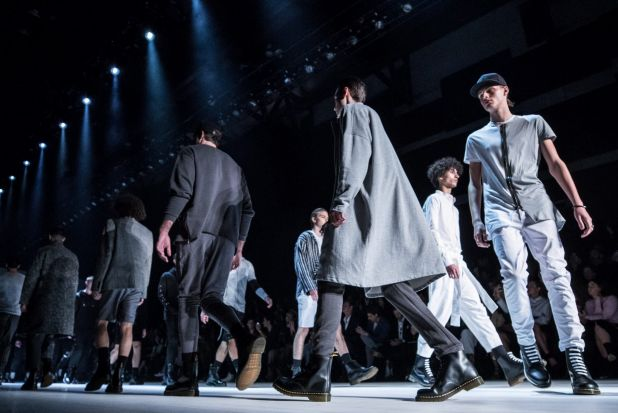 Models walk down the runway during the Justin Cassin show at Mercedes-Benz Fashion Week.