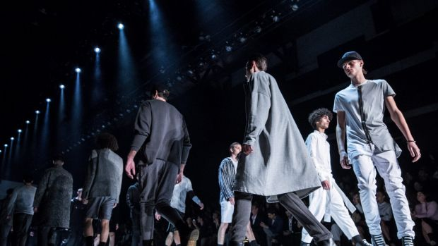 Models walk down the runway during the Justin Cassin show at Mercedes-Benz Fashion Week Resort 18 Collections at ...