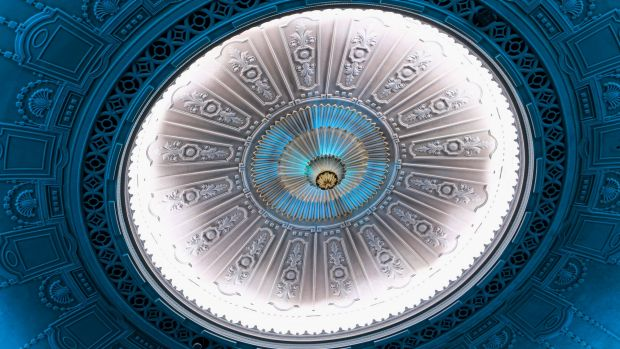 The plaster dome was repaired and cleared of decades worth of nicotine stains.