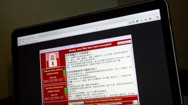 The WannaCrypt warning screen.