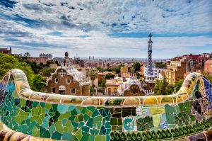 A view of the city of Barcelona from Antoni Gaudí's Parc Güell.