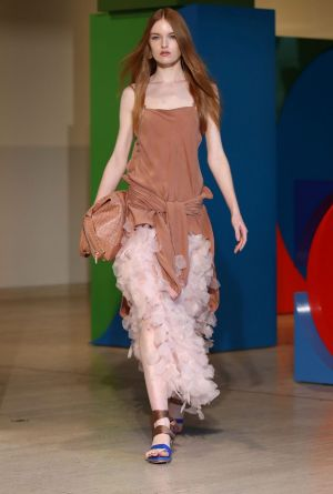 A model walks the runway during the Ginger & Smart show at Mercedes-Benz Fashion Week.